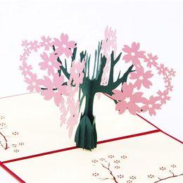 Wholesale Card Love Kirigami - Sakura Love Stereo Invitation Card Creative Handmade Kirigami & Origami 3D Pop UP Greeting Cards For Gift Sweet Wedding Greeting hot sale