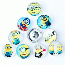 Wholesale Snap Bracelets Kids - Fashion 18MM Snap Buttons Metal Glass Noosa Chunks 10 Mix Cartoon Anna Elsa Minion Style Fit Women Kids Diy Jewelry Charm Button Bracelet