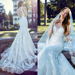 Wholesale Miss France - New France Lace Wedding Dresses For Garden Bride 2017 Plus Size Cheap Bridal Gowns Sweetheart Back Appliques Mermaid Bridal Dresses