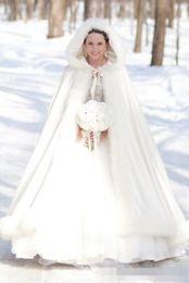 Wholesale Winter Capes For Wedding Dresses - Cheap 2016 Winter Bridal Cape Faux Fur Christmas Cloaks Jackets Hooded For Winter Wedding Bridal Wraps For Wedding Dresses Sweep Train