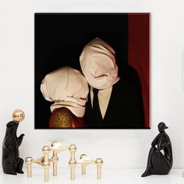 Wholesale Art Abstract Painting Oil Lover - ZZ2018 The Lovers by rene magritte artist morden arts print wall painting on canvas oil painting for wall pictures