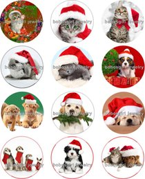 Wholesale Dog Christmas Charms - Free shipping cat dog christmas Snap button Jewelry Charm Popper for Snap Jewelry good quality 12pcs   lot Gl233 jewelry making DIY