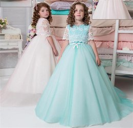 Wholesale Wedding Jackets For Kids - Half Sleeves Flower Girl Dresses For Weddings With Lace Jacket Sash Organza Girls Pageant Dress Princess Christmas Kids Birthday Party Dress