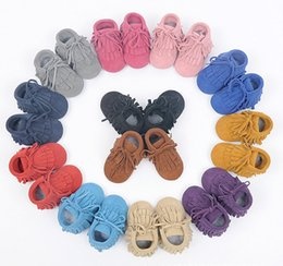 Wholesale Suede Moccasins Wholesale - New 100% Genuine Leather Toddler suede Baby Lace-up Moccasins Tassel double Fringe Baby soft Shoes First Walkers Infant boots A8461