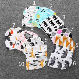 Wholesale 18 Crochet - Free DHL 18 Style kids Christmas INS purified cotton hats baby Boys girls fashion cartoon ins fox panda tiger stripe caps B001