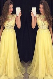 Wholesale Chiffon Lace Special Occasion Dresses - 2017 Yellow Sexy Prom Dress for Juniors A Line Lace Appliques Bodice Long Chiffon Evening Party Dress Plus Size Dress for Special Occasion