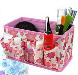 Wholesale Stocking Flower Chinese - 2016 Hot Sale Many Colors Multifunction Beauty Flower Folding Multifunction Makeup Cosmetic Storage Box Container Case Organizer 7*3.7*4inch