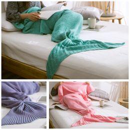 Wholesale Adult Snuggie Blanket - Mermaid Tail Blanket Adult Little Mermaid Blanket Knit Cashmere-Like TV Sofa Blanket Snuggie Couverture, 90x190cm