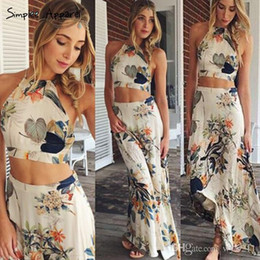 Wholesale Elegant Flower Print Dresses - Sexy Summer Flower Dress Boho Style Print Long 2017 Women Elegant Backless Halter Cross Maxi Dresses Two pieces 003