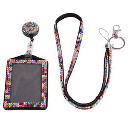 Wholesale Wallet Badges - Rhinestone Lanyard Sling 5 Colors Bus IC Card Holder Employee Identity Card Badge With Lanyard Hang Rope Card Holder 677576
