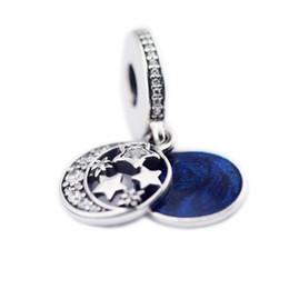 Wholesale Vintage Sterling Enamel Pendant - Real 925 Sterling Silver Vintage Night Sky Charms Pendant Beads For DIY Blue Enamel Moon Star Charm Bracelets Jewelry Making Accessories
