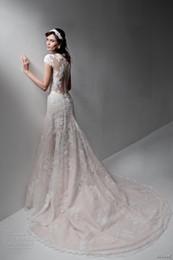 Wholesale Drop Waist Lace - blush wedding dresses 2017 a line illusion back chapel train cap sleeves v neckline full embellishment romantic drop waist wedding gowns