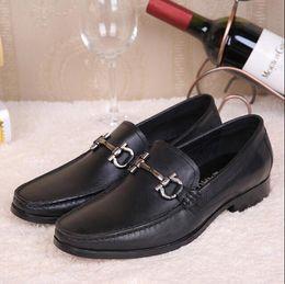 Wholesale Famous Points - Famous Brand Buckle Strap Men Dress Shoes Loafers Handmade Genuine Leather Wedding Party Shoes EU 45