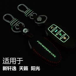Wholesale Sentra Nissan Remote - Hand-Sewing Luminous leather Car key cover Car Remote Key Chain Case Holder For Nissan Sentra TEANA New SYLPHY Sunney Altima 4 Button Smart.