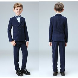 Wholesale Shirt Boy For Wedding - Five Pieces Kids Gowns For Wedding Suits New Arrival Peaked Lapel Boys Formal Wear (Jacket + Pants + Shirt +Blue Bow Tie+Black Bow Tie)