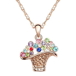 Wholesale Costume Rhinestone Necklace - Charm Costume Jewelry Accessories For Women Branded Design Rose Gold Filled Crystal Pendant Fashion Necklace 4 colors Free shipping 5214