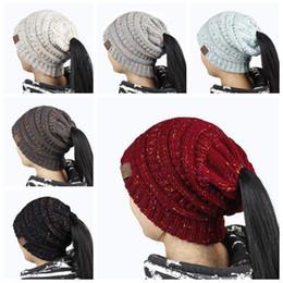 Wholesale hair holes - Ponytail Stretchy Knitted Beanie Cap 21*21cm Women Winter Warm Hole Ski Hat High Bun Hair Stretchy Beanies LJJO3675