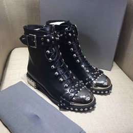 Wholesale European Knight - 2018 Studded Boots Ankle Boots European and American trendsetter model motorcycle boots A must-have item for a hipster women