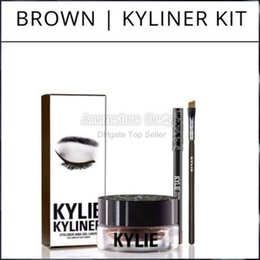 Wholesale Gel Colors Pots - PRESELL!! Kylie Cosmetics By Kylie Jenner Kyliner In Black Brown with Eyeliner Gel pot Brush 3IN 1 set free shipping