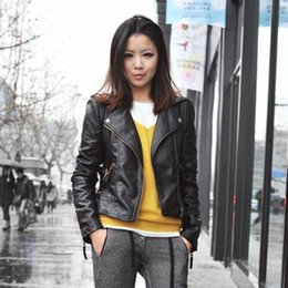 Wholesale Ladies Black Leather Coats - 1Pcs Autumn Women Ladies New Cool Clothing Black Short Motorcycle Jacket Synthetic Leather Zipper Jacket Coat