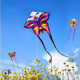 Wholesale Long Kite - free shipping high quality long tails butterfly kite with handle line children kite outdoor toys kite flying toys resin