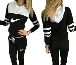 Wholesale Women S Track Suits - Hot Sale! New Women active set tracksuits Hoodies Sweatshirt +Pant Running Sport Track suits 2 Pieces jogging sets survetement femme clothes