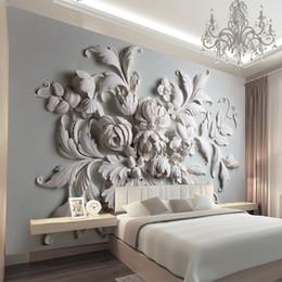 2019 mural branco Sob encomenda da foto papel de parede 3d europeu flores em relevo papel de parede moderna murais de parede crianças menina quarto sala de estar tv sofá parede do fundo branco mural branco barato