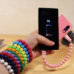 Wholesale Micro Usb Charging Bracelet - Mini USB Cable Bead Bracelet Charging Synchronous Data Line Bracelet Charger for ISO Micro Type-c USB2.0 Android Phone