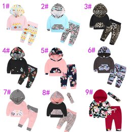 Wholesale leopard print newborn baby clothes - 9 Styles Newborn Spring Autumn INS Baby Clothes Floral Leopard Striped Printing Hoodie+Long Pants 2Pcs Children Striped Outfits Sets