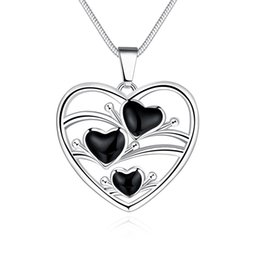 Wholesale Black Onyx Heart Necklace - Wholesale Jewelry Necklace Setls Jewelry Channel Another silver Japanese and Korean hollow heart-shaped drops of oil ladies necklace