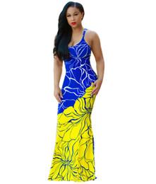 Wholesale Sexy Skinny Dress - 2017 Fashion Printed Sleeveless Women Long Dress Spaghetti Strap Backless Maxi Dresseses Elegant Skinny Plus Size XXXL Party Dress