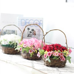 Wholesale Wedding Bags For Girls - Wedding Party Accessories Artificial Rose Flower Basket for Women Girl DIY Home Decoration Storage Bag Container 1Piece