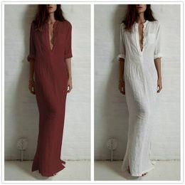 Wholesale Casual Linen Maxi Dresses - Fashion Vestidos 2016 Summer Women Sexy Casual Dress Long Sleeve Deep V Neck Linen Split Solid Long Maxi Dress Plus Size