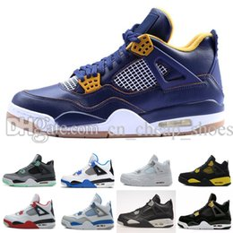 Wholesale Military Royal - High Quality air retro 4 IV mans basketball shoes Bred Oreo Fire Red White Cement CAVS Military Blue Athletic dan 4s shoes 41-47 Sold by je