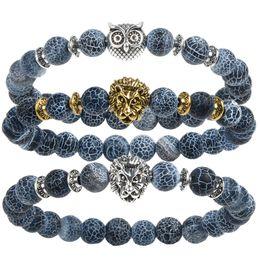 Wholesale Tiger Bracelets Silver - 2017 Leopard Tiger Eye Lion Head Bracelet Owl Buddha beads Bracelets Bangles Charm Natural Stone Bracelet yoga Jewelry Men or Women