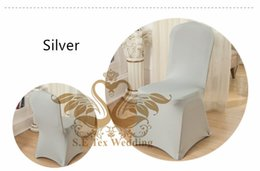 Wholesale Silver Spandex Lycra Chair Cover - Cheap Price Silver Color Lycra Spandex Chair Cover \ Wedding Chair Cover Free Shipping