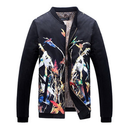Wholesale Large Collar Jacket Mens - 2017 New Men's Floral Print Jacket Stand Collar Flower Jacket Men Outdoor Mens Jacket Long Sleeve Large Size 5XL,PA502