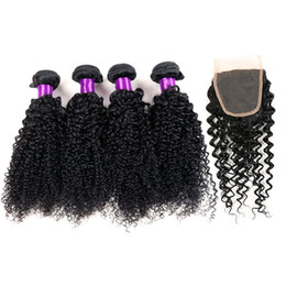 Wholesale European Products - 7A Malaysian HumanHair With Closure 4PCS Queen Hair Products with closure bundle Brazilian Kinky Curly Hair With Closure