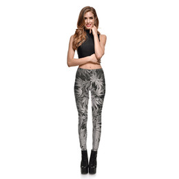 Wholesale Pattern Leggings Xl - New Arrival Women's Digital Printing Gray Leaf Pattern Leggings Pants Woman Plus Size Fashion Slim Elastic Pencil Trousers S-4XL