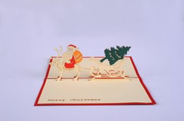 Wholesale Retro Postcards Wholesale - 3D Christmas Greeting Cards Handmade Custom Retro Castle Christmas Gift Postcard Birthday Blessing Card in store free shipping