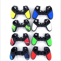 Wholesale Playstation Controller Grip - Anti-Slip Double Color Protective Soft Silicone Case Skin Grip Cover For SONY Playstation 4 PS4 Wireless Controller Game Accessories