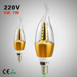 luz de teto pendente cool Desconto 1 Pcs 5 W 7 W CONDUZIU a Vela luz 2835 SMD E14 220 V 25/35 LEDs Lâmpada lâmpada de Alumínio De Refrigeração Para O Teto / Pingente / Lustre De Cristal