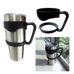Wholesale Bottle Cup Holder - New Portable Plastic Black Water Bottle Mugs Cup Handle For YETI 30 Ounce Tumbler Rambler Cup Hand Holder Fit Travel Drinkware