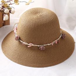 Wholesale Children Floppy Sun Hats - Wholesale- Elegant Summer Mom Child Flower Strap Straw Sun Hat Floppy Women Beach Casual Cap