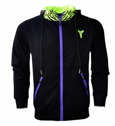 Wholesale Green Cardigan Sweater Men - KOBE basketball sweater Hoodie Black Mamba big yards sweater thin coat male
