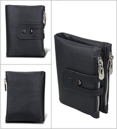 Wholesale Rfid Wallets - Crazy Horse Genuine Leather Men Wallets anti-RFID Credit Business Card Holders Double Zipper Cowhide Leather Wallet Purse 3578#