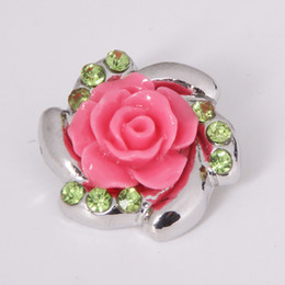 Wholesale Make Rhinestone Jewelry - Mix color 18mm Rose flower Metal Snap Chunk Button High quality Charm Rhinestone Styles Button Ginger Snaps Jewelry diy making