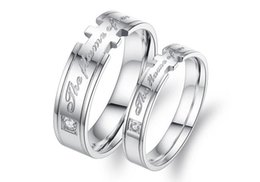 Bande di impegno incise online-Wholsale His ans Acciaio inossidabile Love Words Inciso Matching Set Anello Promise Ring Valentine Love Couples Wedding Engagement Band