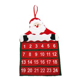 Wholesale Hanging Santa Claus Decoration - 2016 New Year Merry Christmas Santa Claus Calendar Advent Christmas Tree Ornament Hanging Banner For Home Decoration Party Supplies SD133