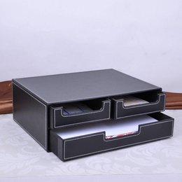 Wholesale Cabinet Desk Organizers - double-layer 3-drawer leather desk file cabinet filing box container organizer storage box black 218A